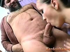 Granny And Teen Girl Blowing Grandpa