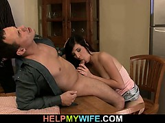 hot-brunette-wife-cuckolds-old-husband