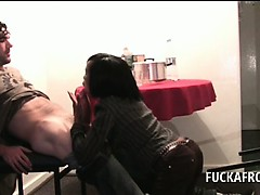 afro-slutty-brunette-blowing-white-penis-on-her-knees