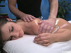 Lily seduced and fucked hard after her free massage!