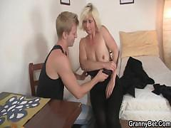 Old Blonde Is Doggy style Fucked