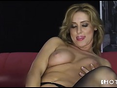 Blonde Slut In Stockings Dildos Her Pussy For Show