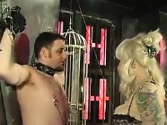 blonde-dominatrix-and-her-male-slave