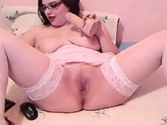 Busty Nerd Fingering Her Pussy