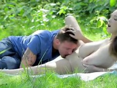 Outdoors Huge Tits Fuck, Blowjob, Doggy Cumming On Boobs