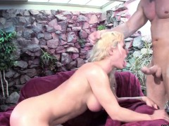 blonde babe rides the penis with a vengeance