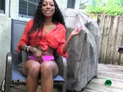 Ebony Slut Shows Ass And Pussy And Sucks Cock