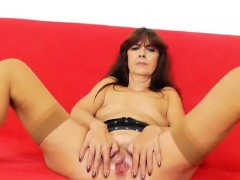 lada-gapes-her-hairy-cooter-in-stunning-pantyhose-and-heels
