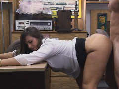 dressed-up-brunette-fucked-doggystyle-on-pawn-shop-desk