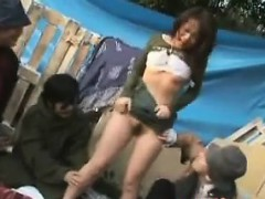 homeless-japanese-girl-with-a-group-of-bums