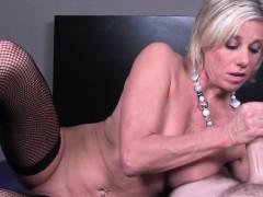 glamour-granny-tugging-cock-pov-in-lingerie