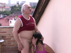 She Let Old Granpa Poke Her Young Hole