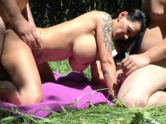 German Monster Tit Milf Get Fucked Outdoor By Two Young Boys