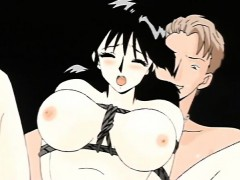 Busty Japanese anime bondaged and hard DP