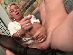 horny milf's using her good looks to win men Handjob