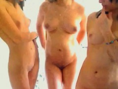 Three Lesbians Teasing Their Bodies