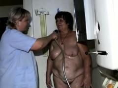 Granny Showered By Lesbian Nurse