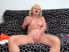 hairy granny masturbating on her couch