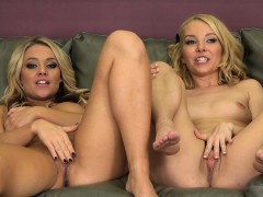 enticing blonde lesbian lovers aaliyah and alexis masturbate together