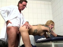 blonde patient gets a screwing from two old guys