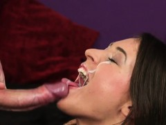wicked peach gets cum load on her face gulping all the char
