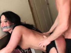 Hot brunette babe Nicola Kiss gets some good pussy drilling