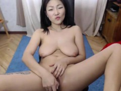 cute massive tit asian milf twat rubbing on webcam