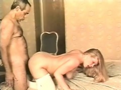 chunky blonde sex kitten in lacy white stockings gets her hairy snatch fucked