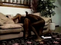 curvaceous caramel lady surrenders her pink honey hole to a black stud