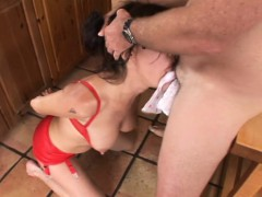 Brunette Gets Toy Fucked In Red Lingerie And Gives Head And Licks Ass