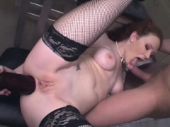horny red haired whore gets penetrated with vegetables and sausages