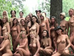 lots of lovely ladies party naked outside for a magazine get together