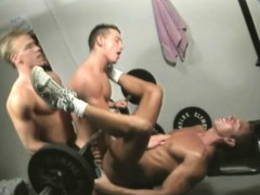 Horny He men Give Their Cocks A Workout In A Gay Threesome At The Gym