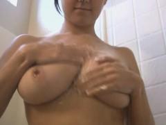 Fantastic Brunette Showing Off In The Shower