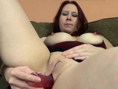 redhead milf lia shayde uses a dong to pleasure her cunt