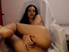 sizzling brunette bitch on teasing stay and slit stripteasin