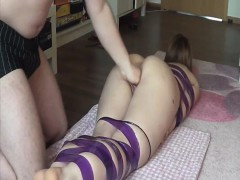brutally fisting submissive bitch in bondage