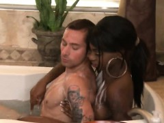 Sexy Ebony Massage And Sucks White Cock