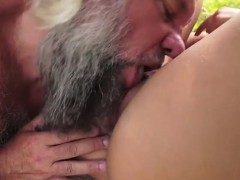 naomi sucking off grandpas hard penis outside and rides on it