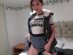 Hipster Asian Girl Masturbates At Home