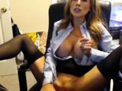 stunning-model-secretary-dildos-her-pussy