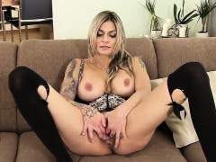 Unusual czech girl spreads her yummy muff to the extreme