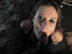 blonde cocksucker getting along on the large black penis