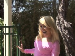 bitch stripping outdoors while showing off