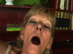 Granny Blonde Riding Younger Dong Fuck Shaved Pussy