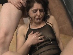 brunette fallon west gagging on penis and her own hand