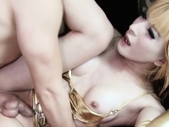 Lingerie Ladyboys Ass Plowed While Jerking