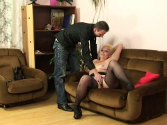 hairy muffin mother inlaw gets naked then rides dick