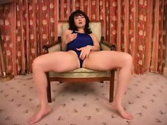 asian cutie in a bathing suit touches herself and rides a g