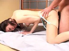lustful japanese wife with tiny boobs is in passion of a hard